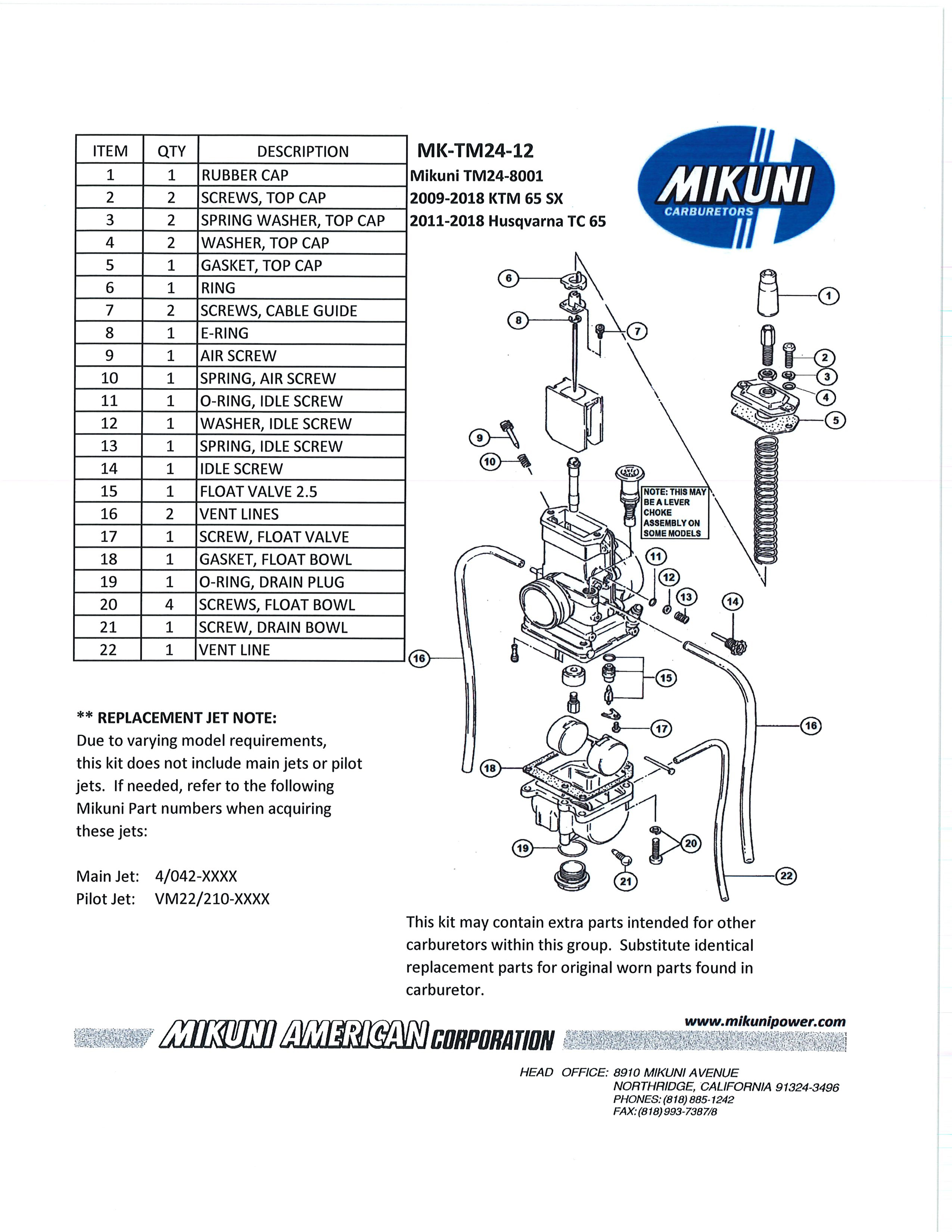 Mikuni Power - Mikuni Genuine Carburetor & Fuel Pump Rebuild Kits