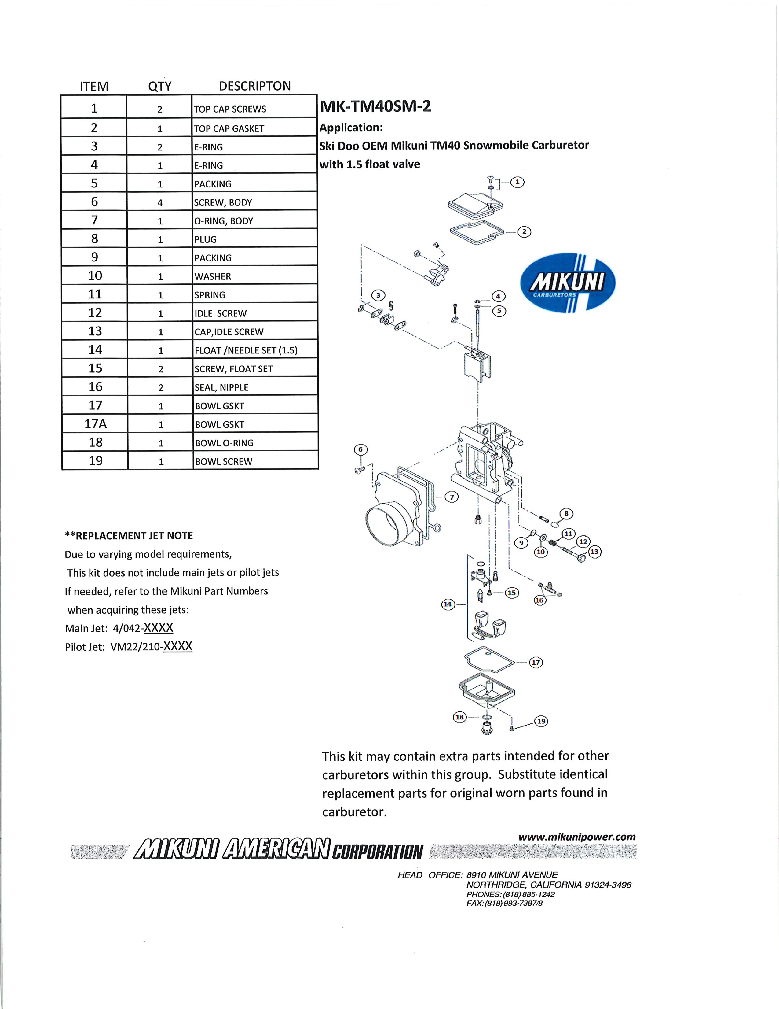 Mikuni Power - Mikuni Genuine Carburetor & Fuel Pump Rebuild Kits